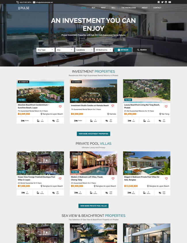 Pulse Real Estate Web Design Phuket